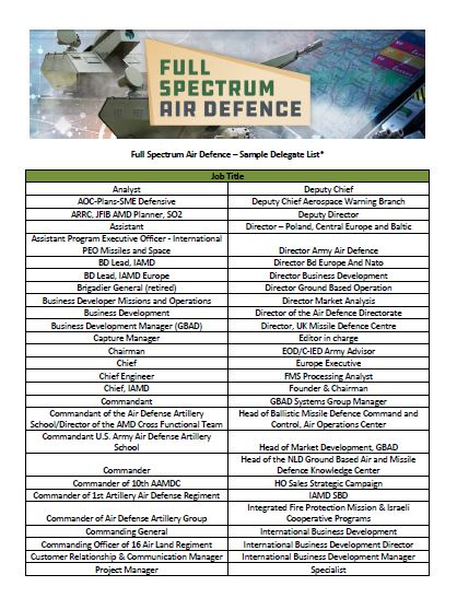 Full Spectrum Air Defence International Attendee List