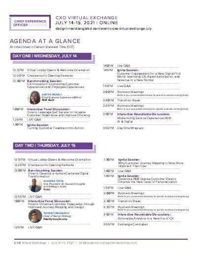 CXO Virtual Exchange July Agenda at a Glance