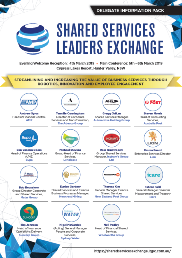 Shared Services Leaders Exchange 2019 Agenda