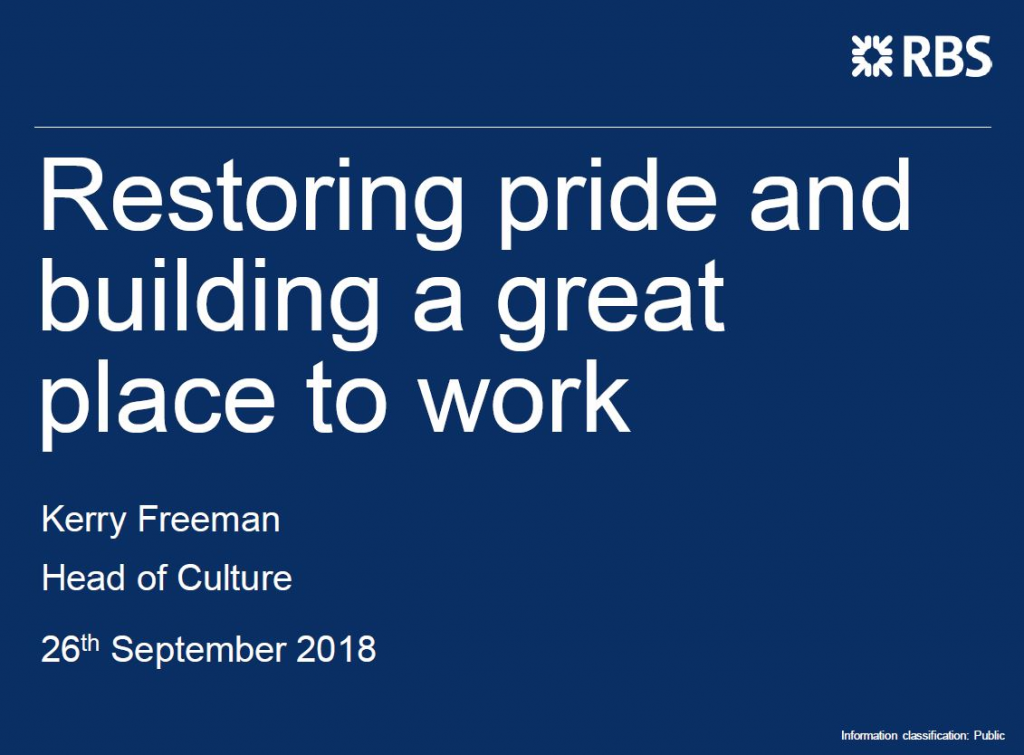 Insights from RBS: Restoring pride and building a great place to work