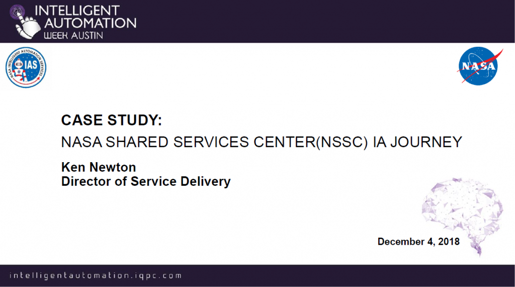 Case Study: NASA'S Shared Services Center (NSSC) IA Journey