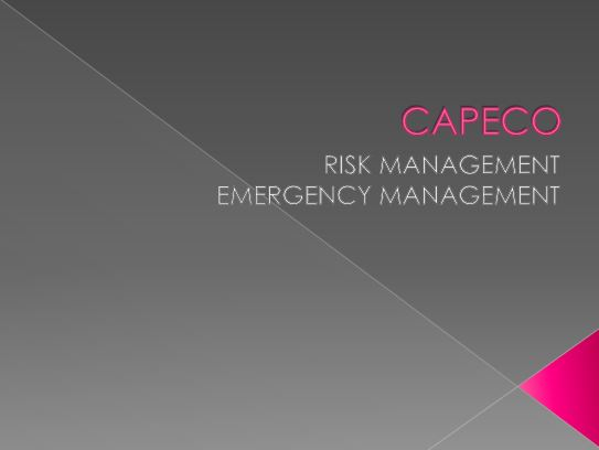 CAPECO Risk Management and Emergency Management