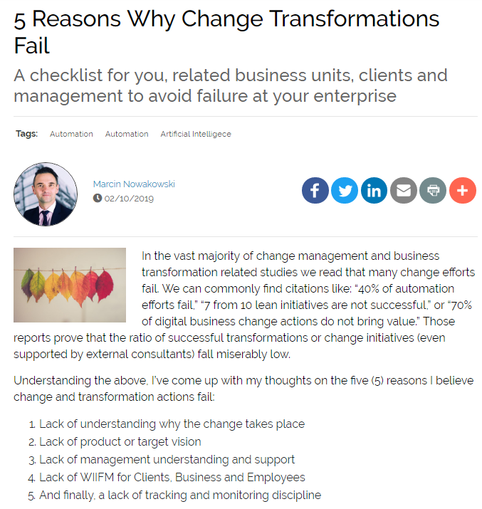 Five Reasons Why Change Transformations Fail