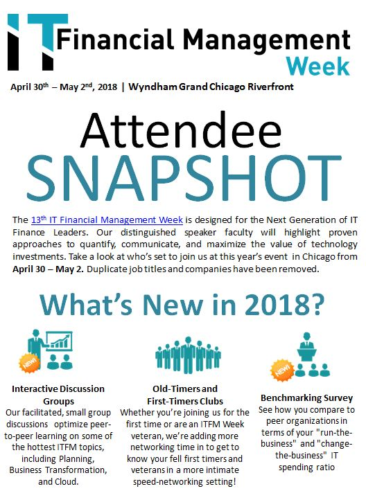 IT Financial Management Week Attendee Snapshot