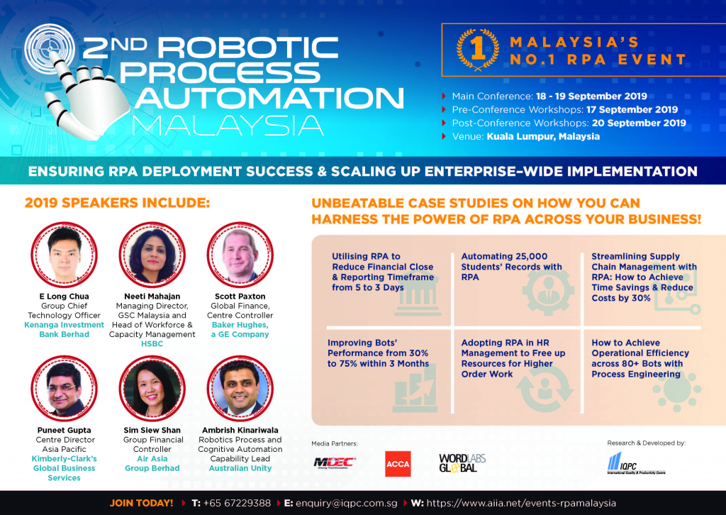 View the Full Agenda - 2nd Robotic Process Automation Malaysia Summit 2019 spex