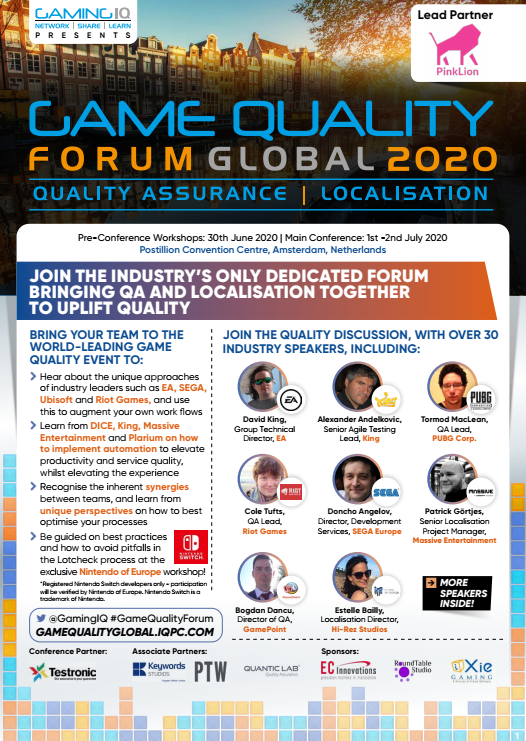 Game Quality Forum Global 2020 Agenda