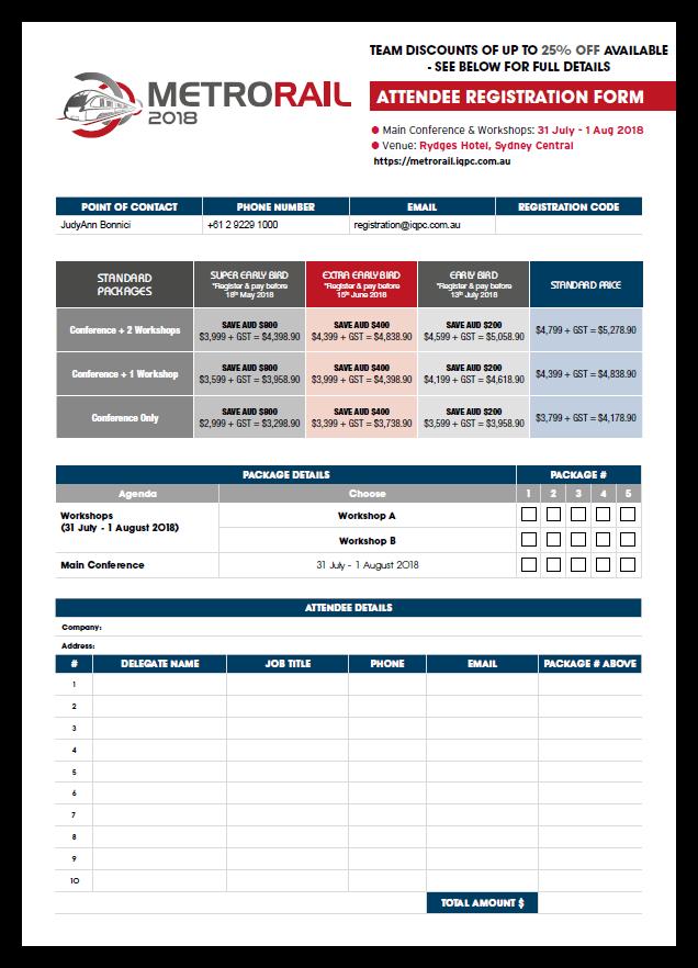 Metro Rail Summit - Registration Form