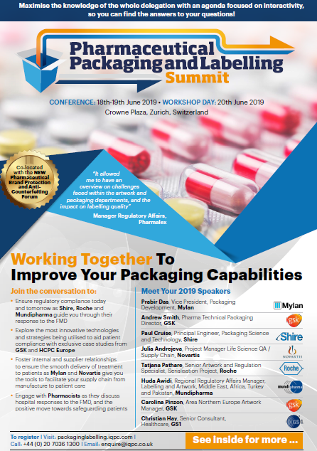 Download the Pharmaceutical Packaging and Labelling Summit 2019 Agenda: