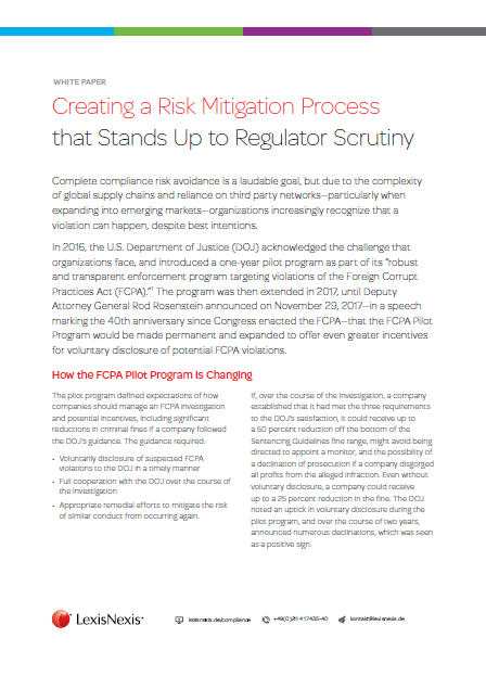 Creating a Risk Mitigation Process that Stands Up to Regulator Scrutiny with LexisNexis
