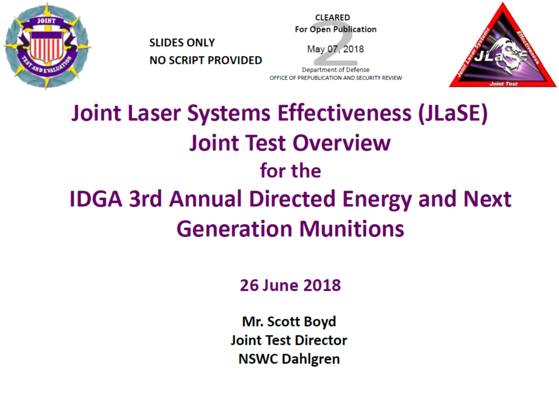 Joint Laser Systems Effectiveness Joint Test