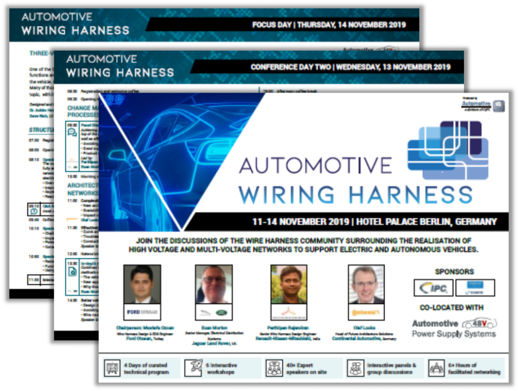 Download the Agenda for the International Automotive Wiring Harness Conference 2019