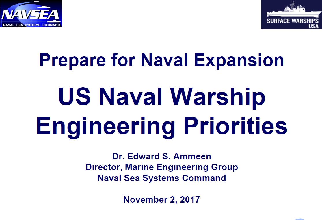 US Naval Warship Engineering Priorities