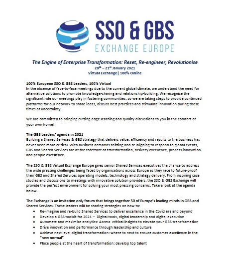Download the SSO & GBS Virtual Exchange Europe 2021 Agenda