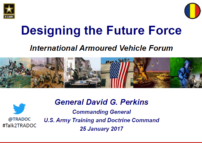 General David G. Perkins: Designing the future army to create a versatile, tailorable future force