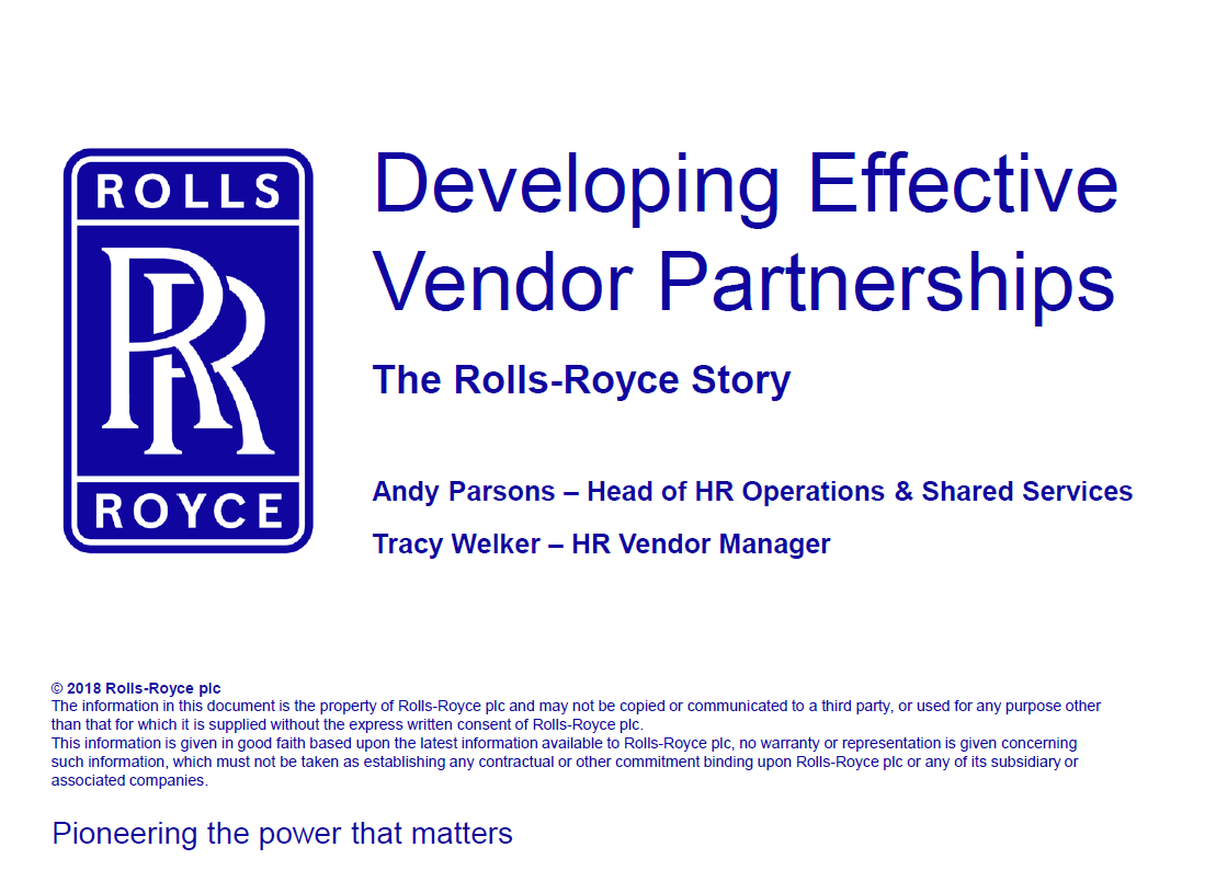 Case Study: Scaling Shared Services through Effective Vendor Partnerships—the Rolls-Royce Story