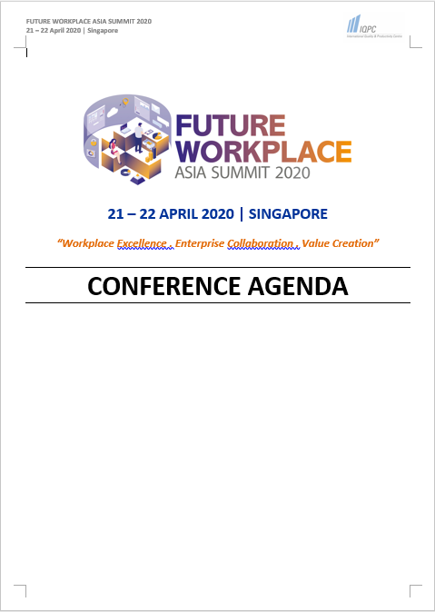 View the Future Workplace Asia Summit 2020 Preliminary Agenda