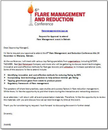 Request for approval to attend the Flare Management event in Bahrain