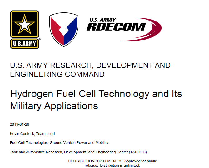Hydrogen Fuel Cell Technology and Its Military Applications
