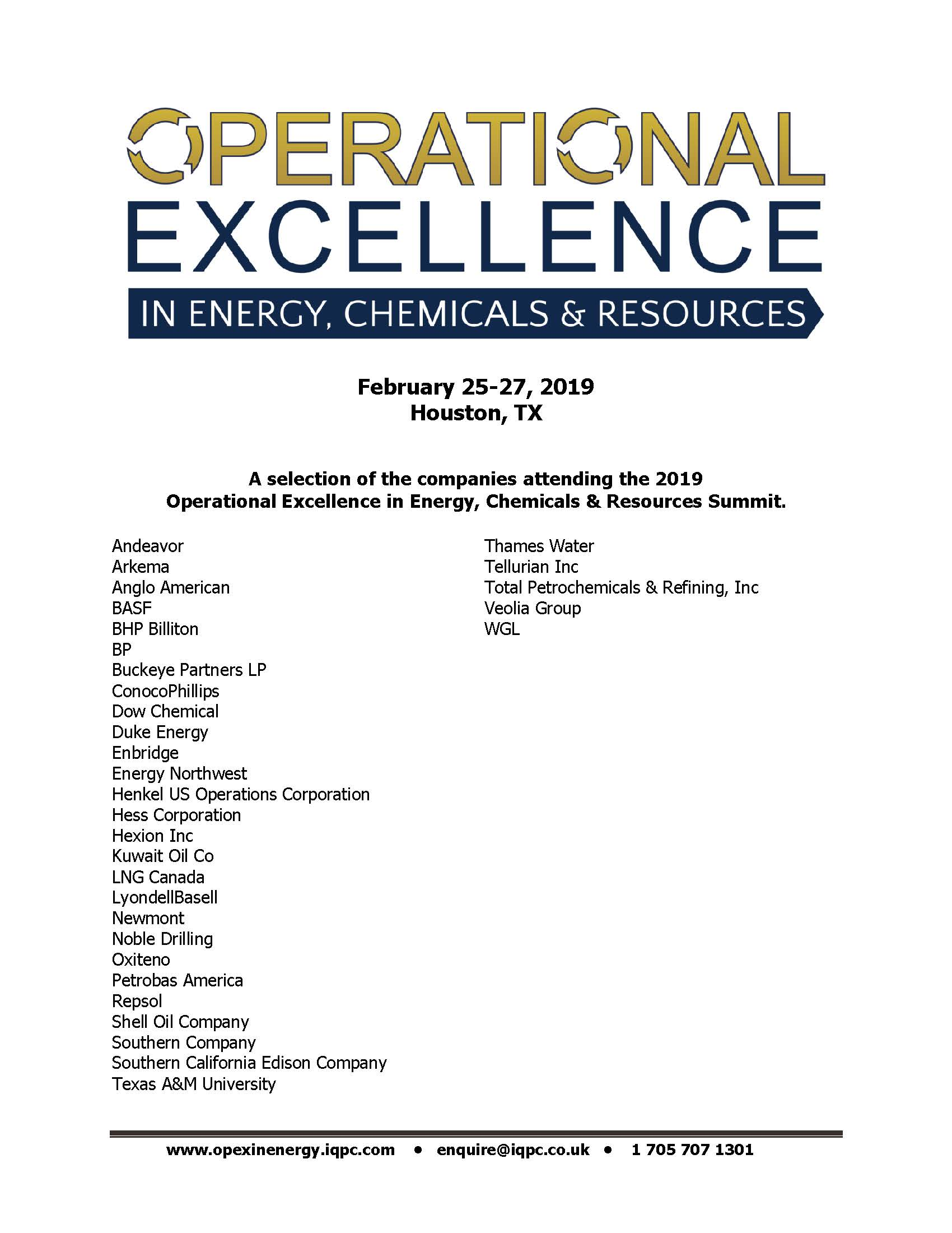 OpEx in Energy, Chemicals & Resources Summit - Sample Attendee List