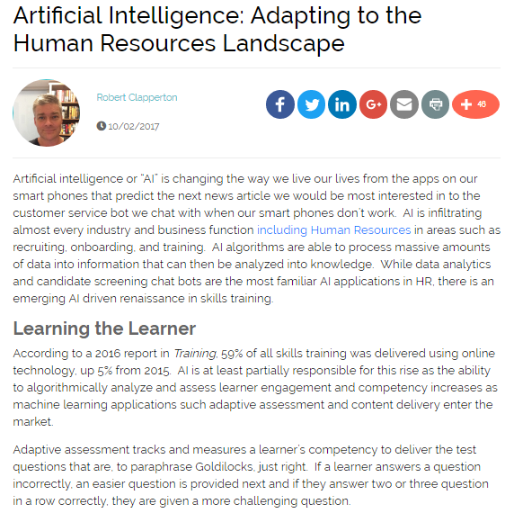 Artificial Intelligence: Adapting to the Human Resources Landscape