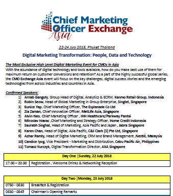 Chief Marketing Officer Exchange Asia 2018 Agenda