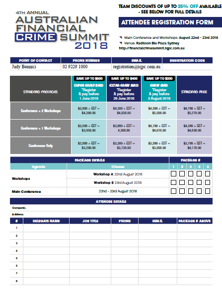 4th Annual Australian Financial Crime Summit 2018 Registration Form