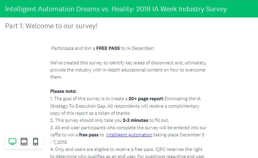 Intelligent Automation Dreams vs. Reality: 2018 IA Week Industry Survey