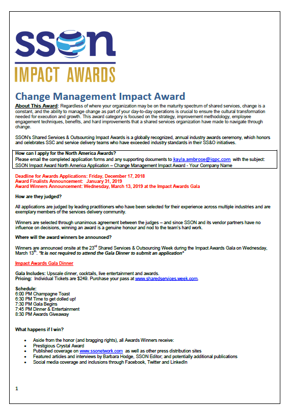 SSOW 2019 Change Management Impact Award Application