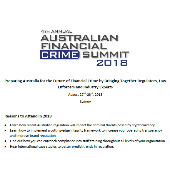 4th Annual Australian Financial Crime Summit 2018 Agenda