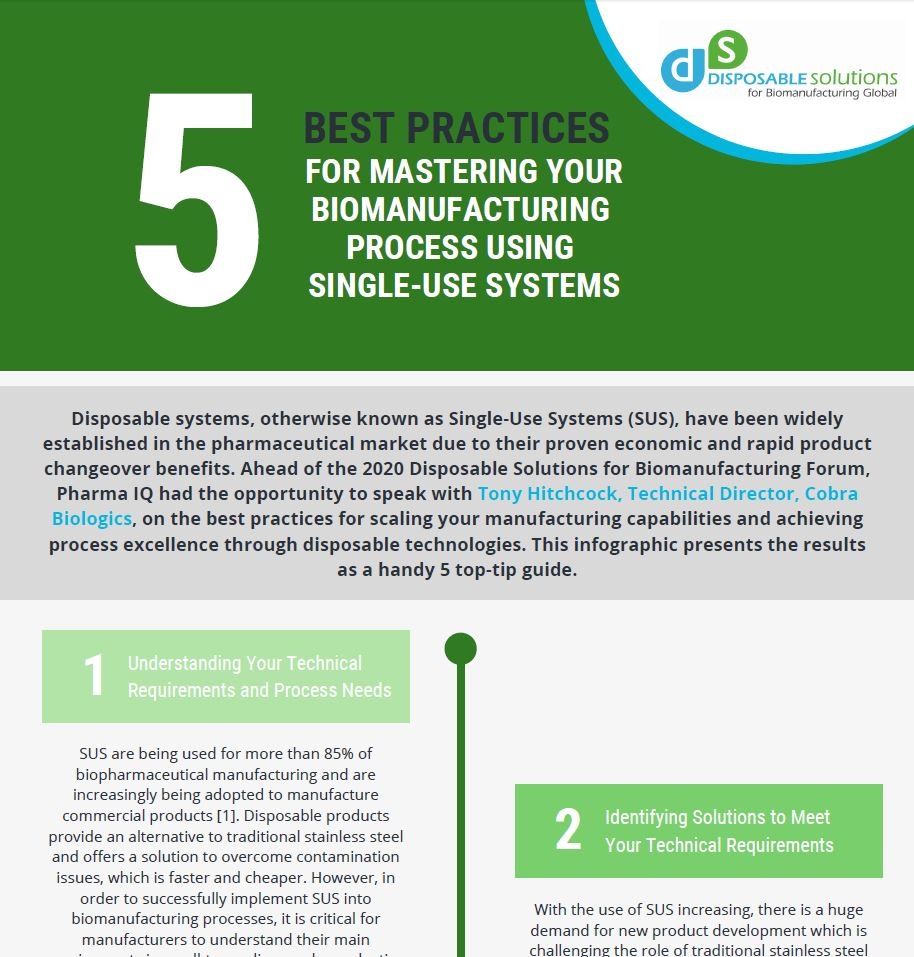 5 Best Practices for Mastering Your Biomanufacturing Process Using Single-Use Systems