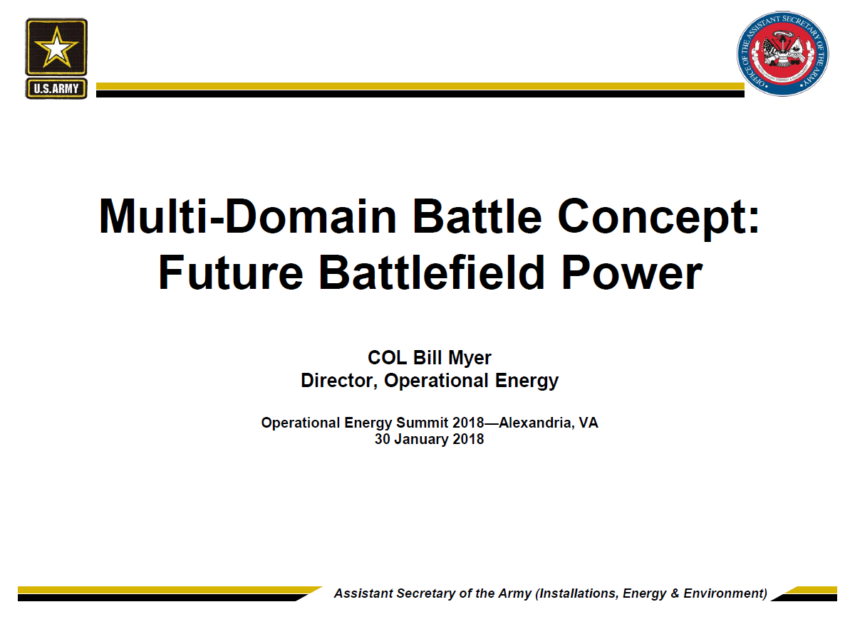 Multi-domain Battle Concept: Future Battlefield Power