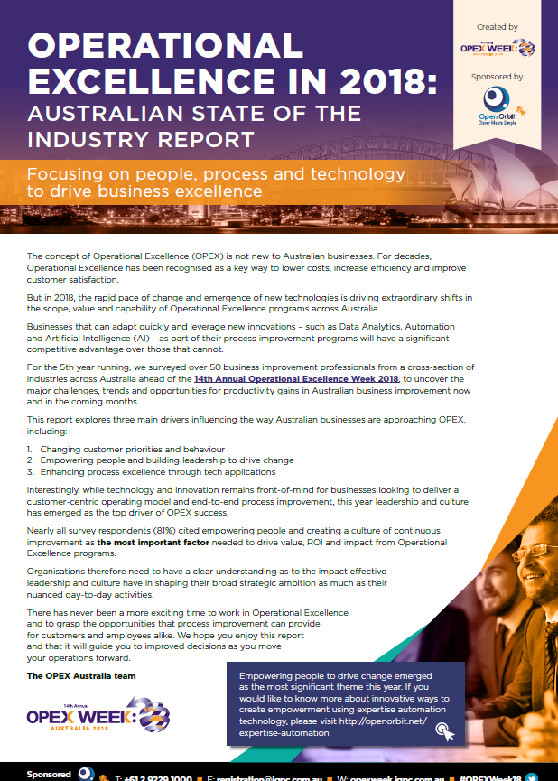 Operational Excellence in 2018: Australian State of the Industry Report  - Focusing on people, process and technology to drive business excellence