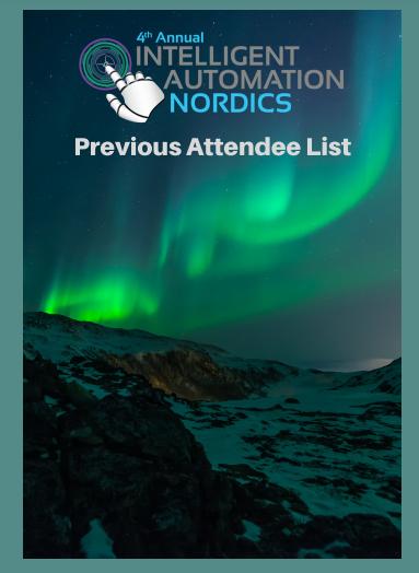 Intelligent Automation Nordics 2019 Attendee List