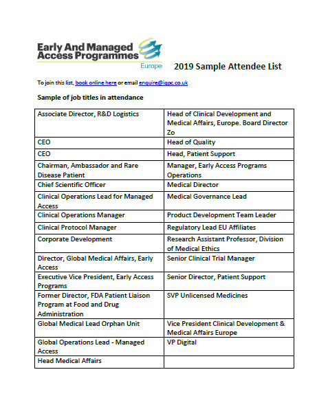 Sample Attendee List - Early & Managed Access Programmes 2019