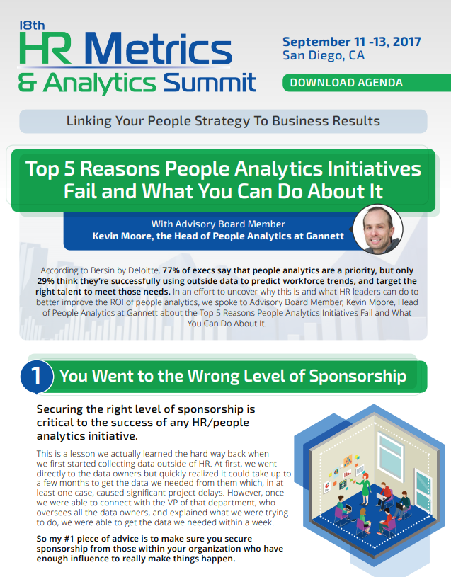 20th HR Metrics & Analytics Summit - Top 5 Reasons People Analytics Initiatives Fail