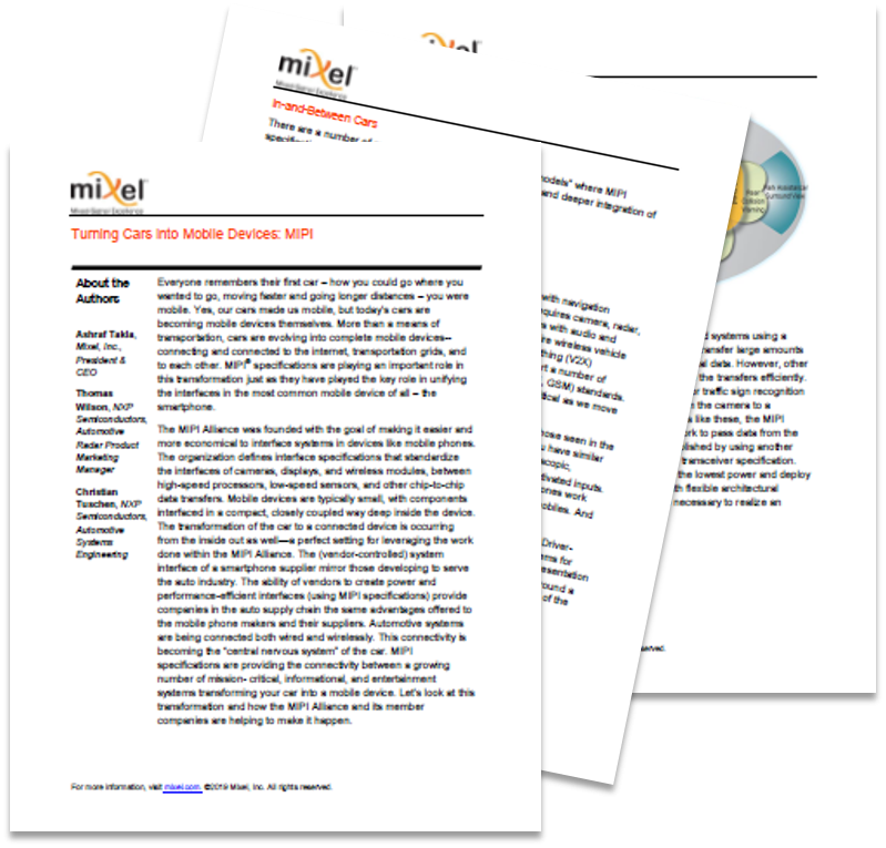 Whitepaper on Turning Cars into Mobile Devices: MIPI