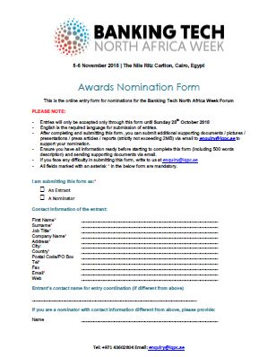 Awards Nomination Form – Banking Tech North Africa Week