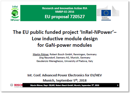 Presentation on the EU public funded project 'InRel-NPower' by Bosch