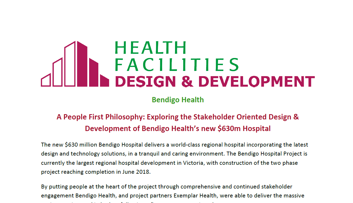 Exploring the Stakeholder Oriented Design & Development of Bendigo Health's new $630m Hospital