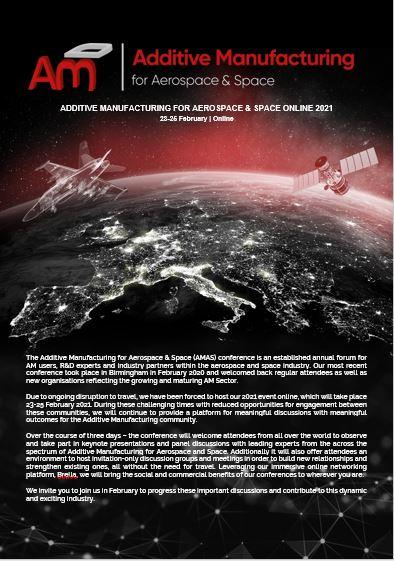 Additive Manufacturing for Aerospace & Space 2021 Agenda