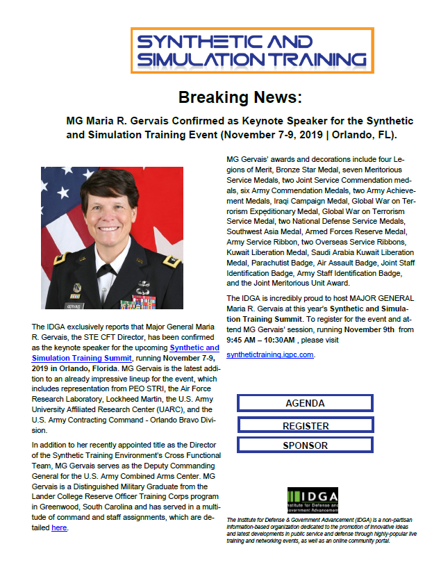 BREAKING NEWS: Major General Maria R. Gervais Confirmed as Keynote Speaker for the Synthetic and Simulation Training Event (November 7-9, 2019 | Orlando, FL).