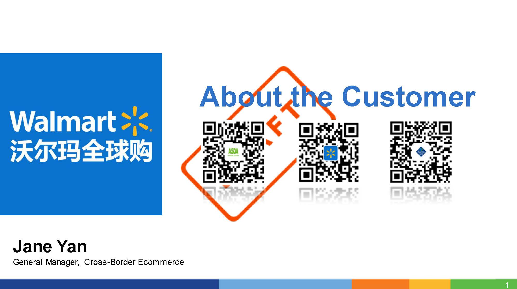 Download the past presentation from Jane Yan, Walmart -  About the Customer