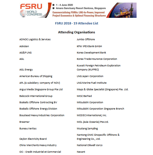 See who has attended FSRU 2018 - 2019