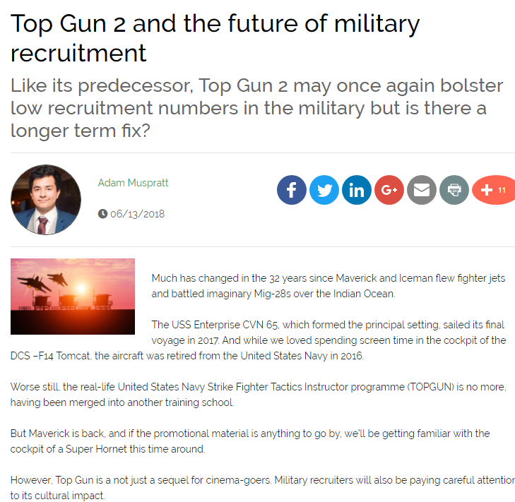 Top Gun 2 and the future of military recruitment