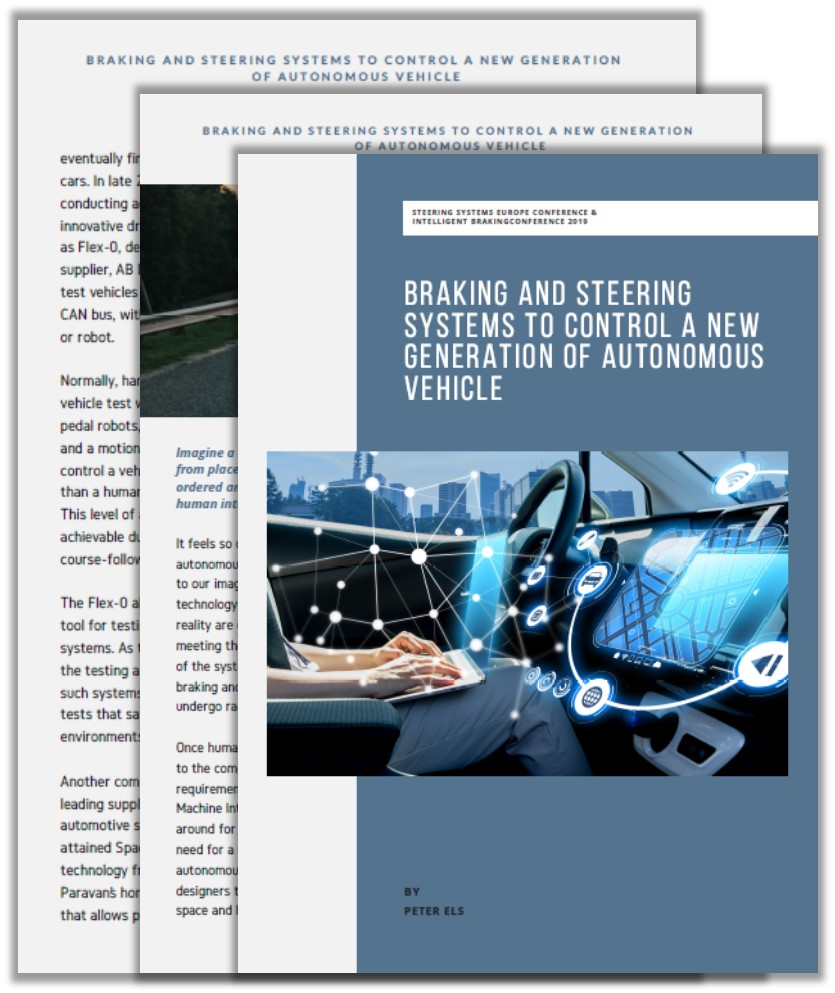 Automoive IQ Article: Braking and steering systems to control a new generation of autonomous vehicle