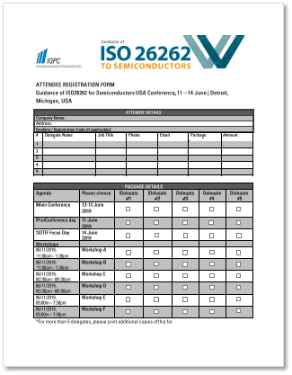 Registration Form: ISO 26262 to Semiconductors