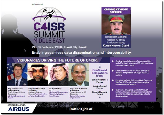 View the full event outline - 6th Annual C4ISR Middle East Summit