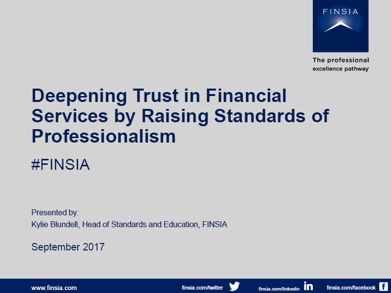 Deepening Trust in Financial Services by Raising Standards of Professionalism