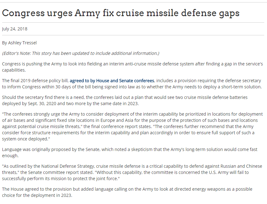 Congress urges Army fix cruise missile defense gaps
