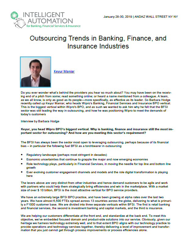 Outsourcing Trends in Banking, Finance, and  Insurance Industries